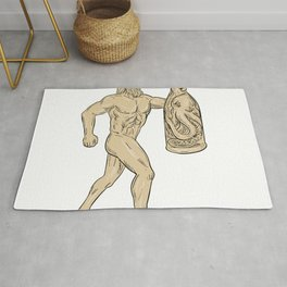 Hercules With Bottled Up Angry Octopus Drawing Rug
