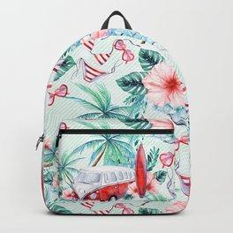 Retro 60s Bus, Surfboard, Bikini, Palm Trees, Beach Scene Backpack