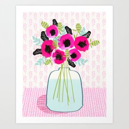 Poppies Vase of flowers cut flower mother's day cute florals illustration Andrea Lauren Art Print