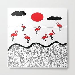 Red flamingos Metal Print