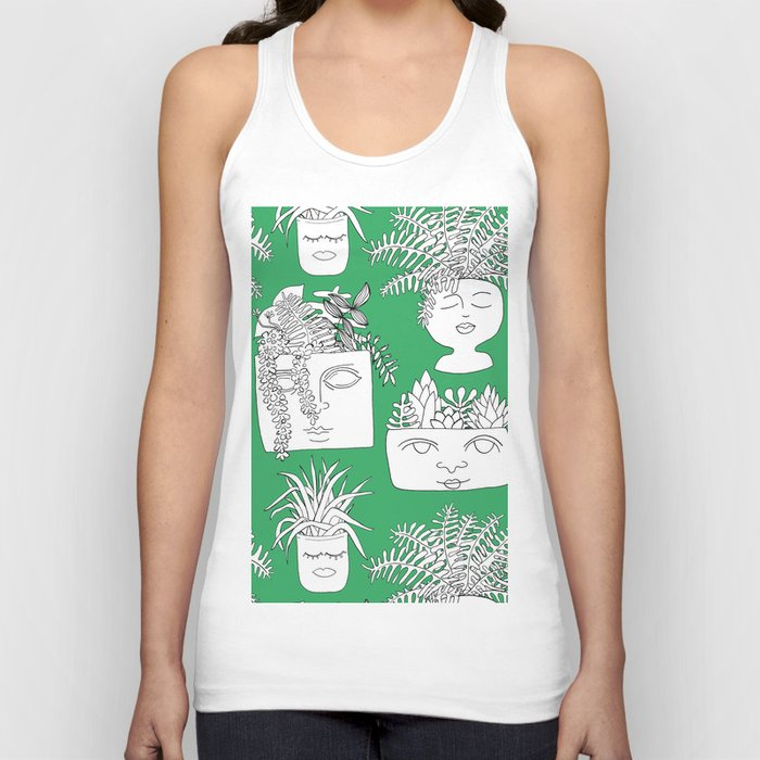 Illustrated Plant Faces in Kelly Green Unisex Tanktop