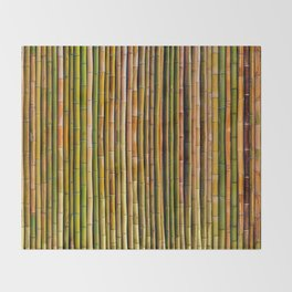 Bamboo fence, texture Throw Blanket