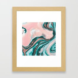 Rose Gold Glitter Pink Teal Swirly Painted Marble Framed Art Print