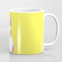 Puppy in yellow purple and white art print Coffee Mug