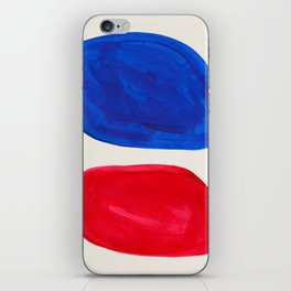 Mid Century Modern Retro Minimalist Colorful Shapes Phthalo Blue Red Rothko Pebbles iPhone Skin