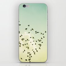 Birds Flying Photography, Birds Fly Sky, Mint Turquoise Yellow Nursery Art iPhone & iPod Skin