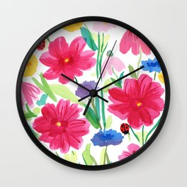 Whimsical Wildflowers, Watercolor Flowers, Pink Red and Yellow Flowers, Ladybug Art, Colorful Fun Wall Clock