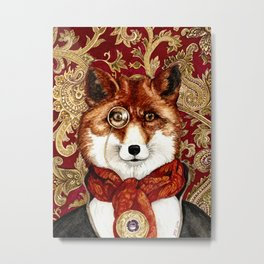 Victorian Fox Original Watercolor Metal Print