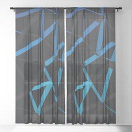 3D Futuristic GEO Lines VI Sheer Curtain