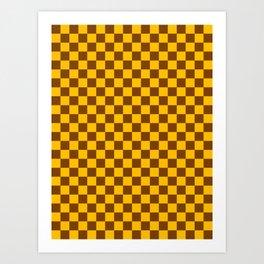 Amber Orange and Chocolate Brown Checkerboard Art Print