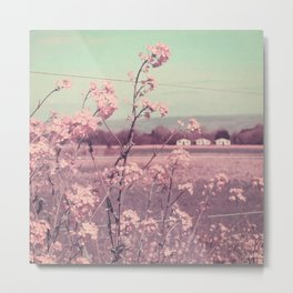 Sweet Spring (Teal Sky, Soft Pink Wildflowers, Rural Cottage) Metal Print