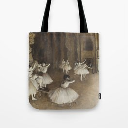 Ballet Rehearsal on Stage by Edgar Degas Tote Bag