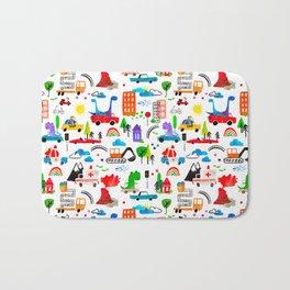 Dinosaur City Watercolor Transportation Pattern Bath Mat
