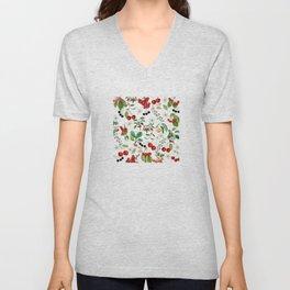 Cherries On White Background Unisex V-Neck