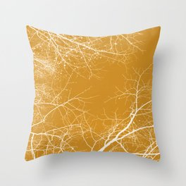Branches Impressions on Yellow Throw Pillow