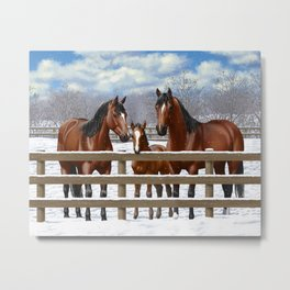 Bay Quarter Horse Family In Snow Metal Print
