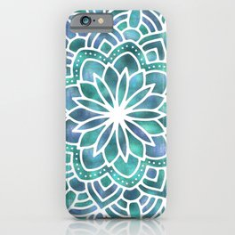 Mandala Succulent Blue Green iPhone Case