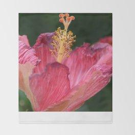 Pink Hibiscus Throw Blanket
