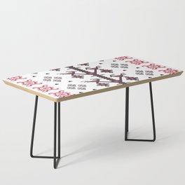 Tribal Ethnic Love Birds Kilim Rug Pattern Coffee Table
