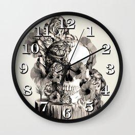 Life on a pedestal, floral skull Wall Clock