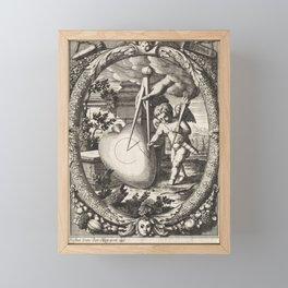 Vintage Cupid Etching Circa 1650 Framed Mini Art Print