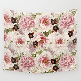 Small Vintage Peony and Ipomea Pattern - Smelling Dreams Wall Tapestry
