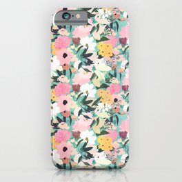 Pretty Watercolor Pink & White Floral Green Design iPhone Case