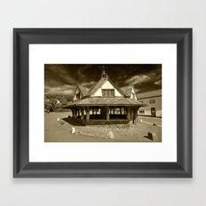 Dunster Yarn Market in Sepia Framed Art Print