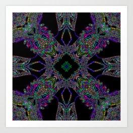 Kaleidoscope pattern on black Art Print