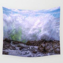 Inner Strength waves crashing at Moonstone Beach California Wall Tapestry