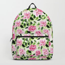 Pink and Green Garden Floral Pattern Backpack