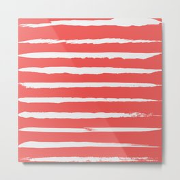 Irregular Hand Painted Stripes Coral Red Metal Print
