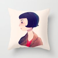 amelie Throw Pillows featuring Amelie by Nan Lawson