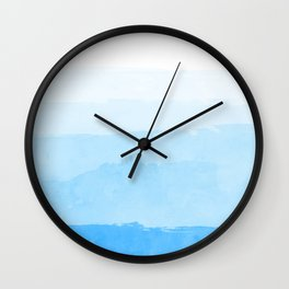 Watercolor Blue Ultramarine Sky Clouds Texture Wall Clock