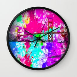 Golden Gate bridge, San Francisco, USA with pink blue green purple painting abstract background Wall Clock