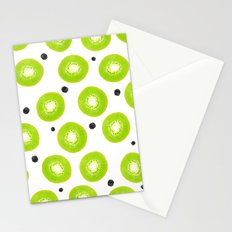 Modern spring green watercolor kiwi fruits pattern  Stationery Cards
