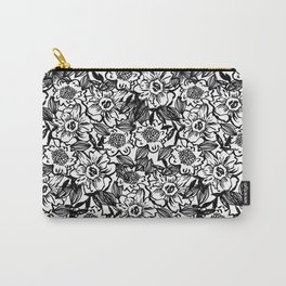 Ella - abstract floral flowers minimal modern black and white girly gender neutral boho painting Carry-All Pouch