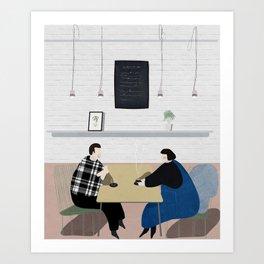 Cafe Conversations Art Print