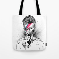 gore Tote Bags featuring Zombowie by Daryll Peirce