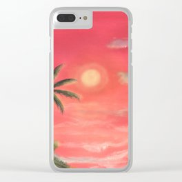 Palm trees swaying in the wind Clear iPhone Case