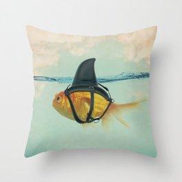 Goldfish with a Shark Fin RM02 Throw Pillow