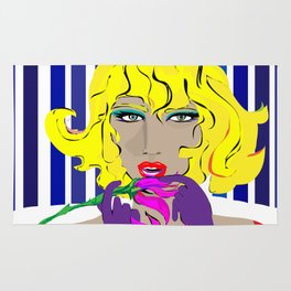 """Blonde Ambition"" Paulette Lust's Original, Contemporary, Whimsical, Colorful Art  Rug"