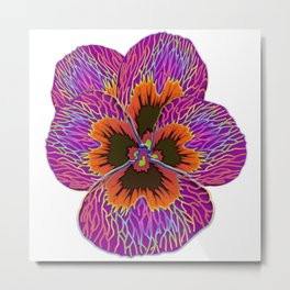 Pansy Flower Psychodelic Abstract Metal Print