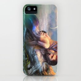 Take my breath away - Mermaid in love with soldier on the beach iPhone Case