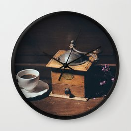 Vintage still life with coffee grinder Wall Clock