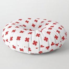 Red Swiss Cross Pattern Floor Pillow