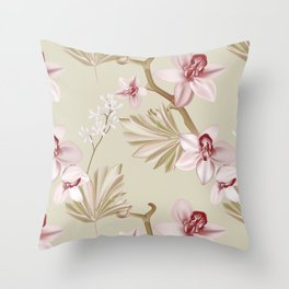 Orchid realistic print Throw Pillow