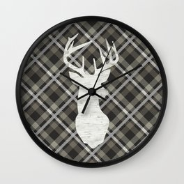 Stag, Deer,Country Decor, Rustic, Plaid, Brown and Beige Wall Clock