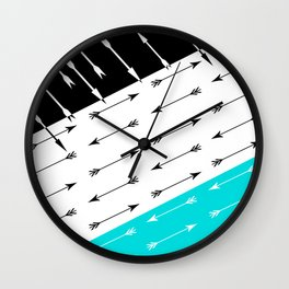 Turquoise black white pattern Boom 2 . Wall Clock