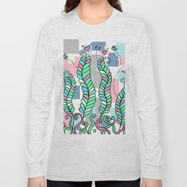 Vines Swaying in the Breeze with Pastel Blocks Long Sleeve T-shirt